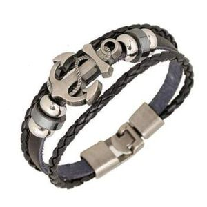 Anchor Bracelet Black Leather (with metal clasp)